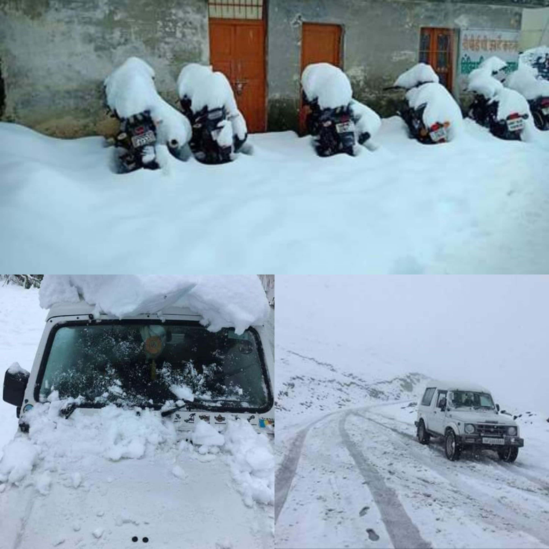 हिमाचल- प्रदेश के जिला- शिमला में लगातार भारी बरसात से हुई बर्फबारी से क्षेत्र ढका